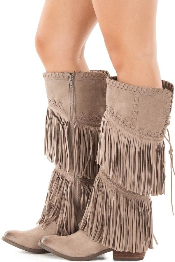 Lime Lush Boutique - Taupe Faux Suede Boot with Fringe and Stitched Accents, $89.99 (https://www.limelush.com/taupe-faux-suede-boot-with-fringe-and-stitched-accents/)