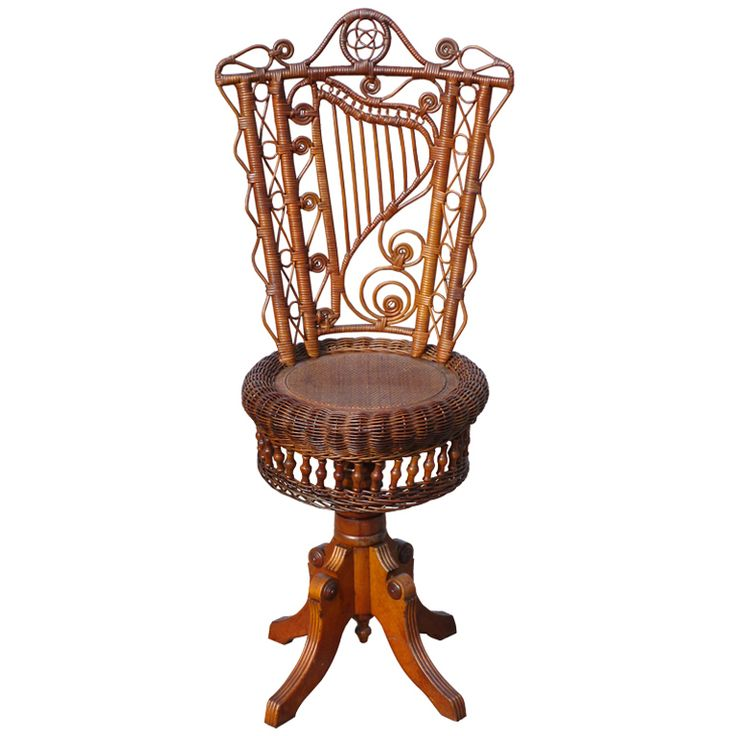 1880 Victorian Wicker Piano Stool - revolving stool in original natural stained finish. Harp motif  sc 1 st  Pinterest & Best 25+ Piano stool ideas on Pinterest | Piano bench White piano ... islam-shia.org