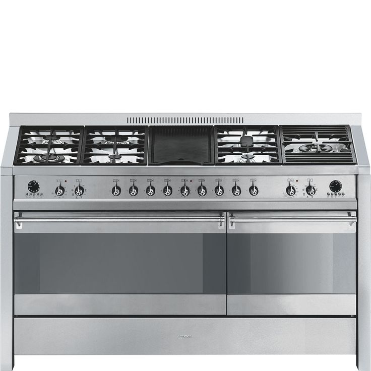 Width: 150 cm; 7-burner gas hob including wok burner plus griddle; Two ovens with integrated grills; Two multifunction ovens; Fully programmable; Easy-clean enamel