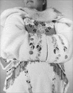Inuit woman's parka with embroidery. Inuit clothing is often elaborately decorated with beads, tassels, dyes, and colored thread. Styles vary from region to region, and often a person's locale can be deduced from details of their clothing.
