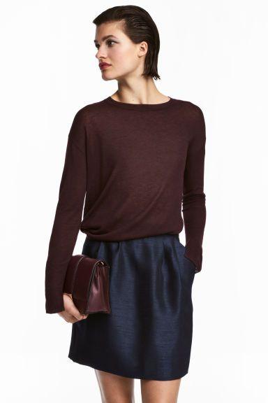 Jupe en tissu armuré - Bleu foncé - FEMME | H&M CA
