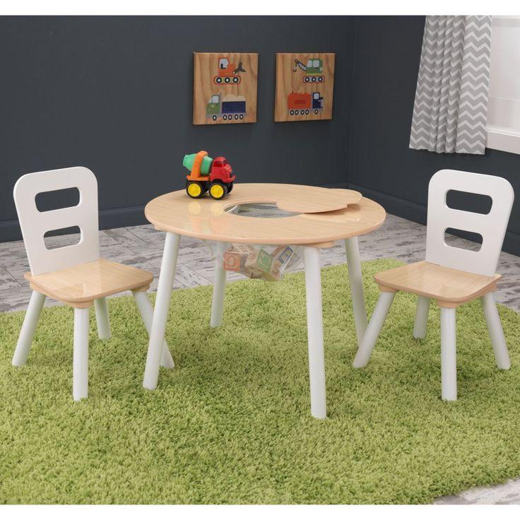 kidkraft round table u0026 2 chair set natural u0026 white make cleanup