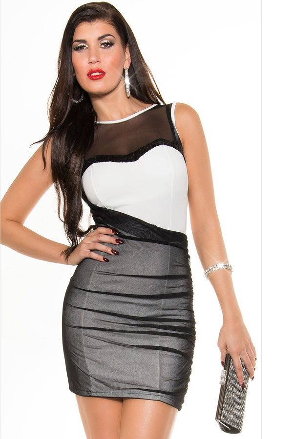 Black White Mesh Sequined Bodycon Dress