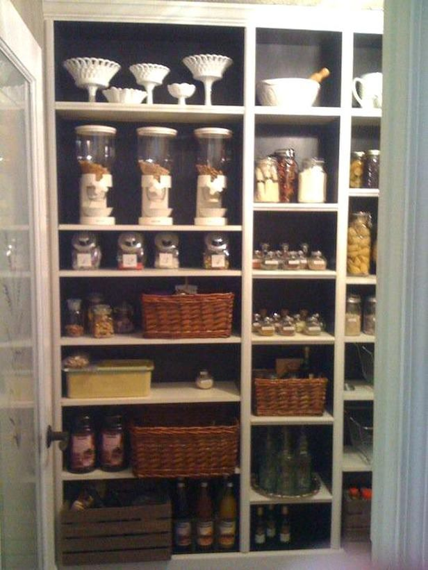 Turn inexpensive shelving units into pantry storage.