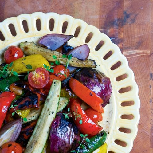 Fire-Roasted Balsamic Vegetables | Nutrition Facts (per serving): Calories – 221, Fat – 13.5g, Dietary Fiber – 6.6g, Protein – 5.3g, Vitamin A – 10%, Vitamin C – 348%, Iron – 39%