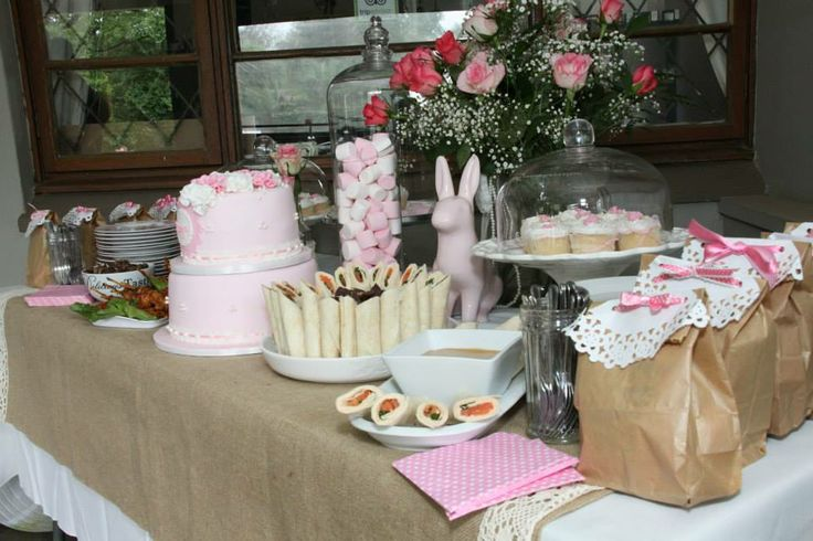 Girl Christening Food Table