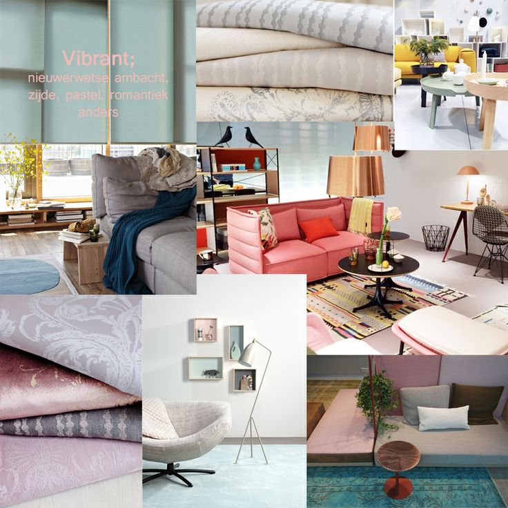 Overall moodboard met de trend Vibrant; Romantiek anno 2014. Met onder andere gordijnen uit onze eigen collectie, binnenzonwering van Luxaflex en tapijt van Desso.