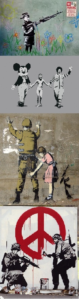 Always one of my favorites, especially for bringing this art form to main-stream conscious...Anti-War Banksy Art   ( Canvas prints available at romeotees.com )