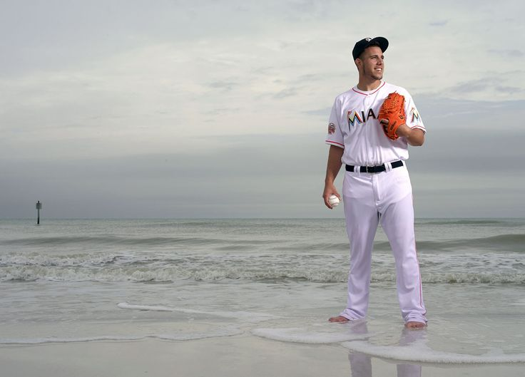Marlins pitcher José Fernández poses during a photo shoot on South Beach in Clearwater, Fla., on Feb. 6, 2014. Fernández is one of many MLB players who have defected from Cuba to the U.S. dating back...: