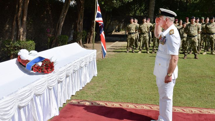 The Prince of Wales laid a wreath at a memorial service at the British Embassy in Manama, Bahrain on the last day of his royal tour of the Middle East.  He saluted after laying a wreath of poppies at the service attended by Bahrain officials and ambassadors.