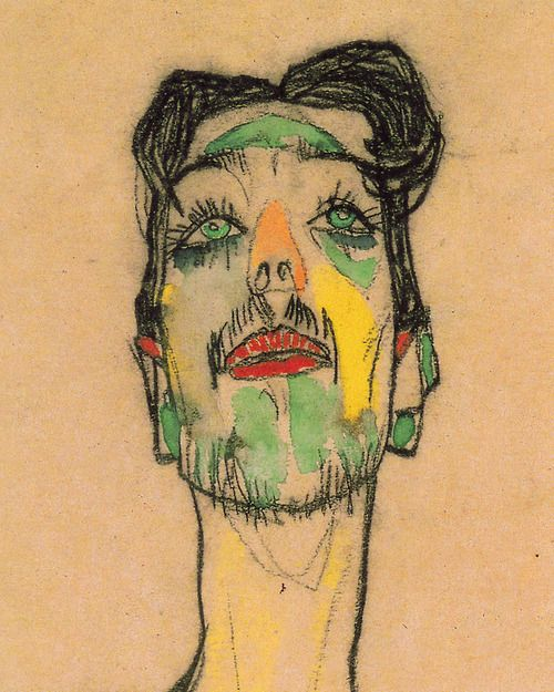 EGON SCHIELE - MIME VAN OSEN (DETALLE) - 1910. I have always admired Schiele. His angular figures, all joints and jutting hipbones, his surprising use of color. So far ahead of his time.