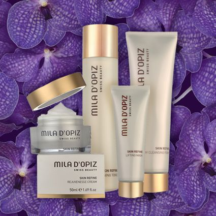 Mila d'Opiz Skin Refine Range is a swiss care ritual with ingredients based upon the Swiss Glacier Water and different active peptide complexes. This combination of actives bestows on every skin evenness and smoothness.