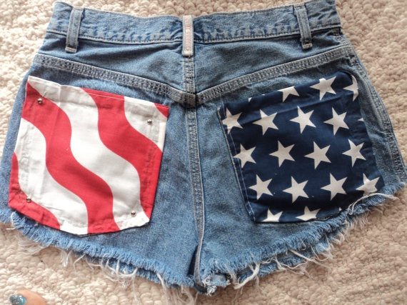 High Waisted American Flag Studded Shorts by colormetiesh on Etsy, $38.40