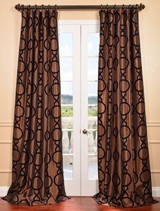 NEW: Taurean Copper Flocked Faux Silk Curtain