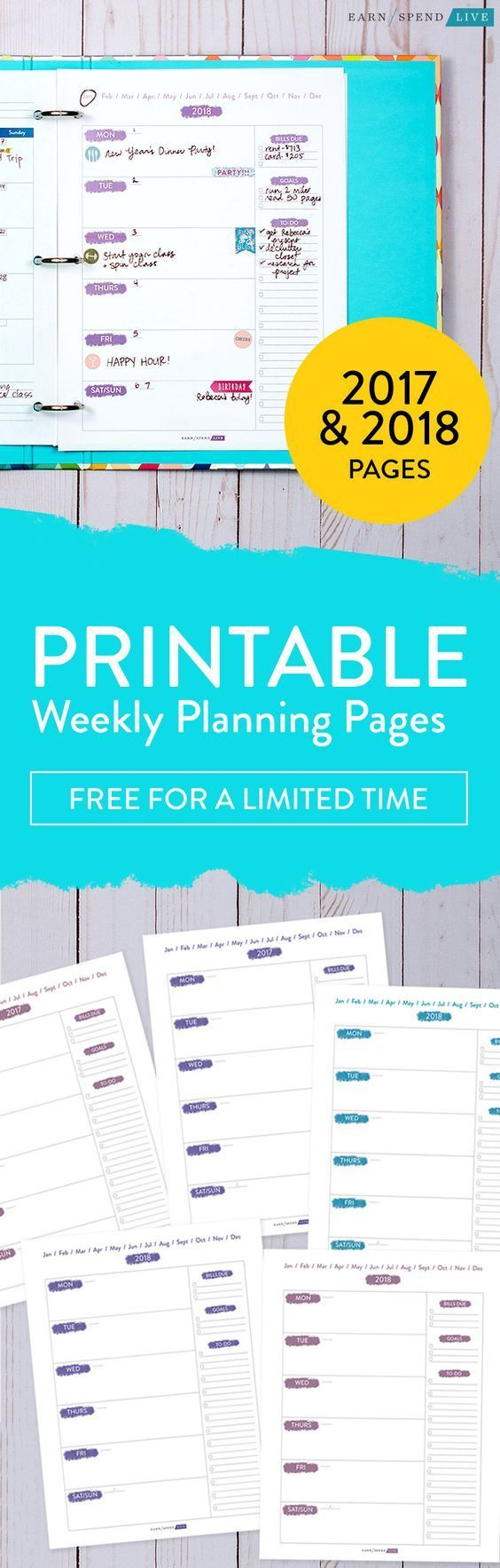 Printable Weekly Planning Pages for 2018 to help you get organized. Space for bills, goals, and your to-dos!  free printable planner, printable planner, weekly planner, free weekly planner, free weekly planning printable, weekly planner pages