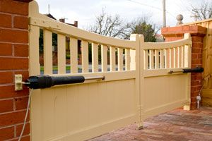 timber automatic driveway gates with access control system