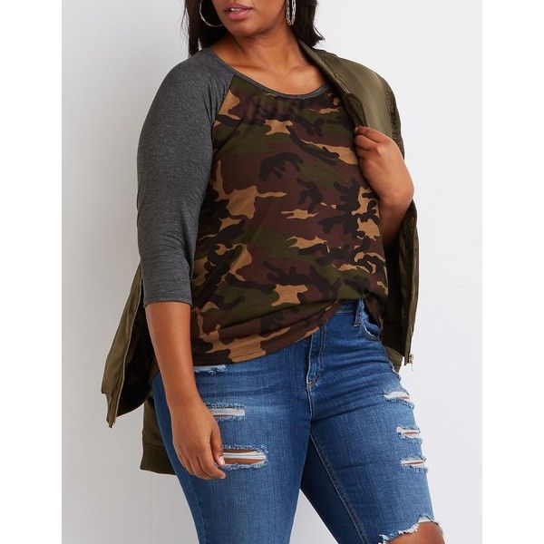 Charlotte Russe Camo Baseball Tee ($19) ❤ liked on Polyvore featuring plus size women's fashion, plus size clothing, plus size tops, plus size t-shirts, olive, baseball tee, raglan baseball tee, plus size baseball tees, baseball t shirt and camo t shirt