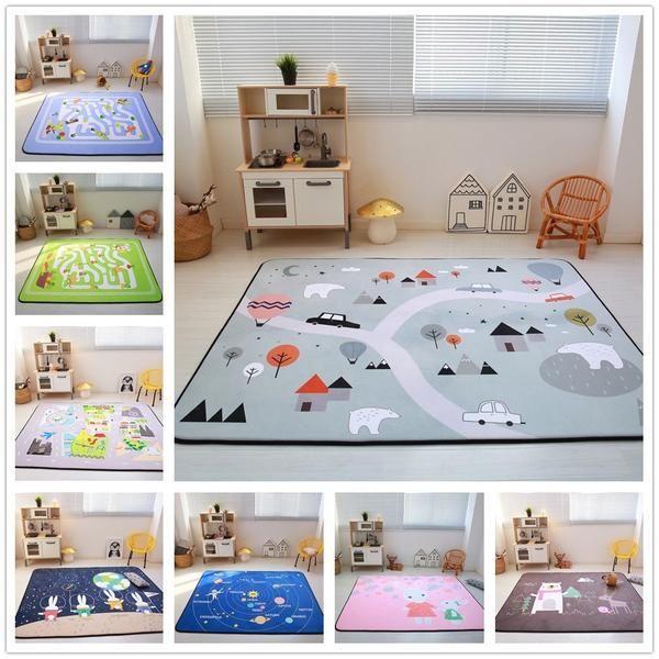 Cartoon Animals Runway Star Carpet Kids Room Soft Fleece Bedroom