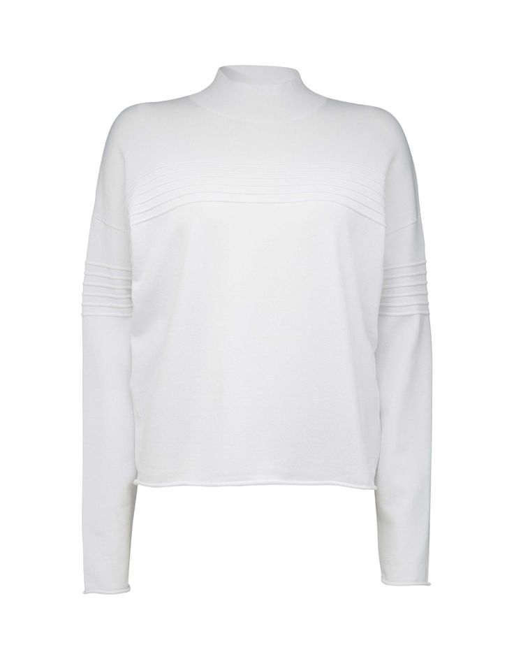 Tiger Of Sweden: Women's pullover in viscose-blend. Features wave knit structure at front, back and sleeves. Ribbed polo neck and dropped shoulders. Boxy fit. Ankle length.Walker pullover - Köp online