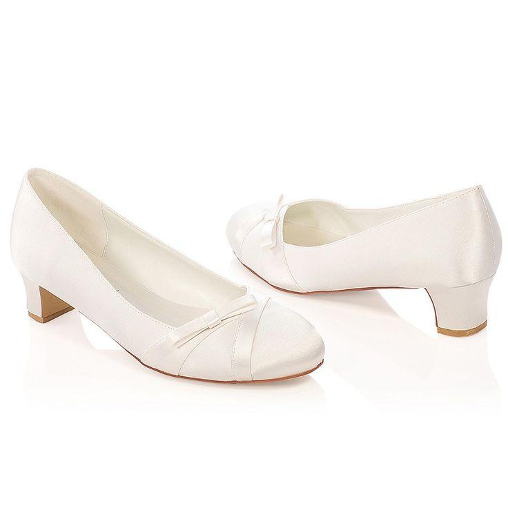 Chaussure mariage ivoire en satin à bout rond talon 4 cm - Molly - Westerleigh