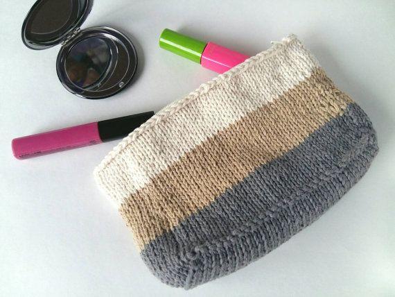 Knit Makeup Bag with Lining  Makeup Organizer  by 3LittlePurls