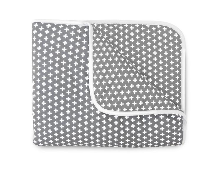 Olli + Lime Cross Crib Quilt Gray