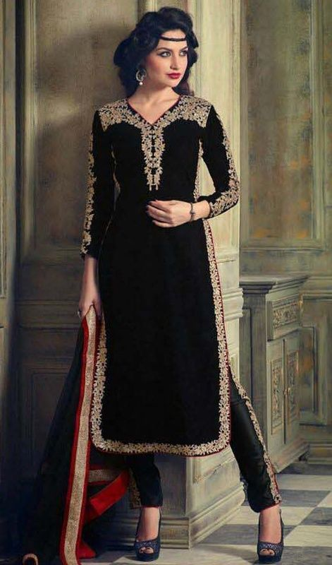 Black Color Velvet and Net Embroidered Pant Style Suit