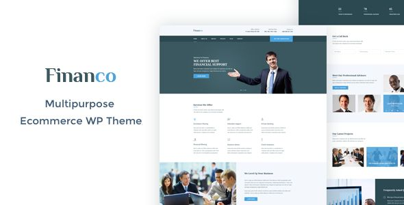 Financo - Finance & Investment WordPress Theme . Financo has features such as High Resolution: Yes, Widget Ready: Yes, Compatible Browsers: IE10, IE11, Firefox, Safari, Opera, Chrome, Edge, Software Version: WordPress 4.6.1, Columns: 4+