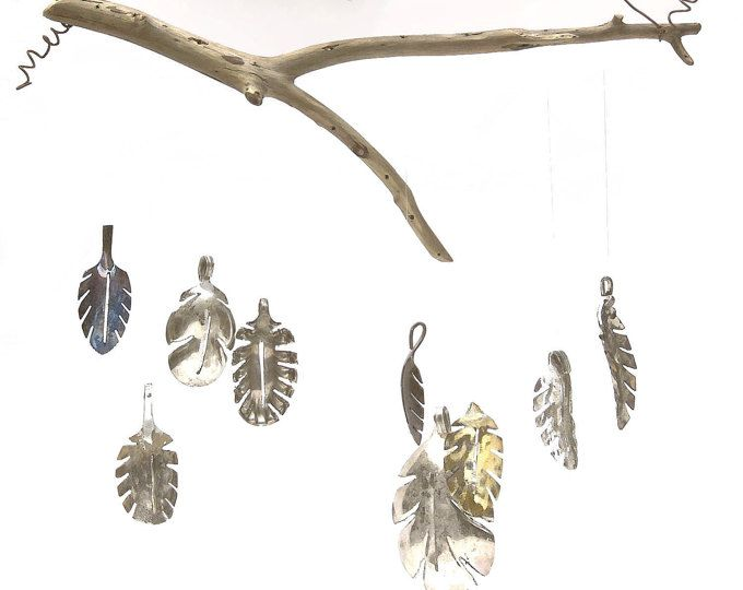 Spoon Leaf Wind Chime, Silverware Mobile, Unique garden Plant, great mothers day Gift, Go Green this Spring,  Relax and listen to the charming sound as these darling leaves dance in the wind. Each of the detailed leaves are handcrafted from vintage silverplated flatware. Leaves come in wonderful display of varying sizes & patinas carefully strung from a natural driftwood branch. While each and every leaf is unique I personally guarantee they are all just as charming as the ones featured ...
