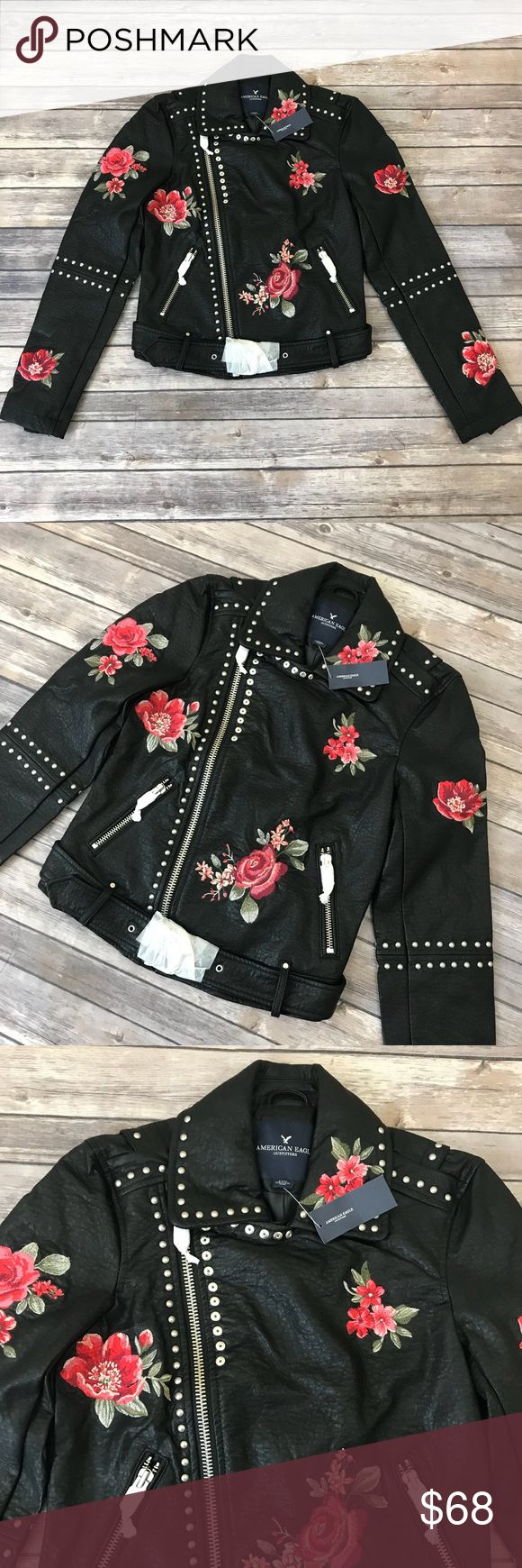 New American Eagle Faux Leather Embroidered Jacket American Eagle Faux Leather Floral Embroidered Studded Moto Jacket •New with tags •Size Small •Retails for $149.95  Check out my other listings- Nike, adidas, Michael Kors, Hunter Boots, Kate Spade, Miss Me, Rock Revival, Coach, Wildfox, Victoria's Slecret, PINK, True Religion, Ugg Australia, Free People and more! American Eagle Outfitters Jackets & Coats