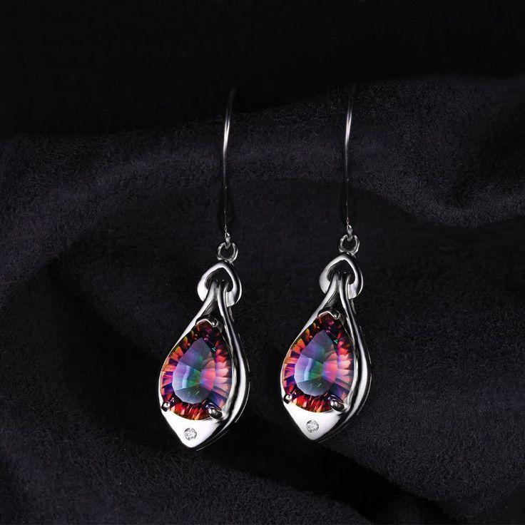 Water Drop 6.8ct Rainbow Fire Mystic Topaz Dangle Earrings Pure 925 Sterling Silver