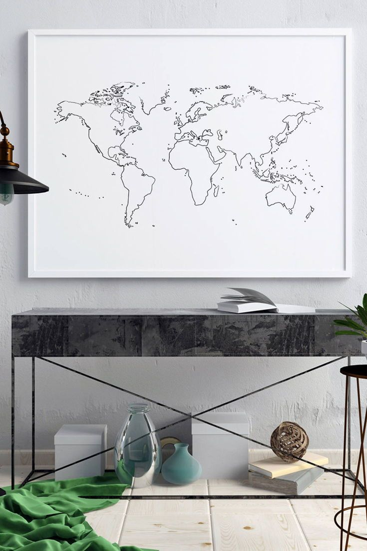 Black And White World Map Wall Art World Map Poster Print Etsy