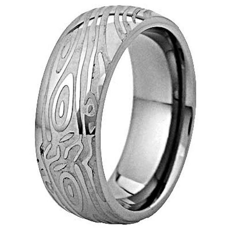 8mm Wood Grain Crafted Half Moon Top Titanium Ring Men's Wedding Band sz 7-13