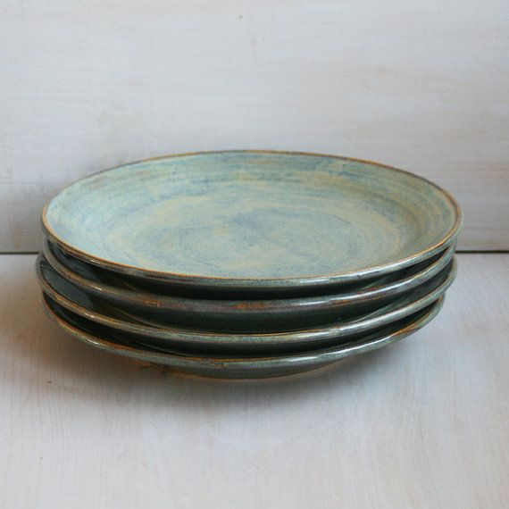 Set Of Four Ceramic Dinner Plates In Sage Green Glaze