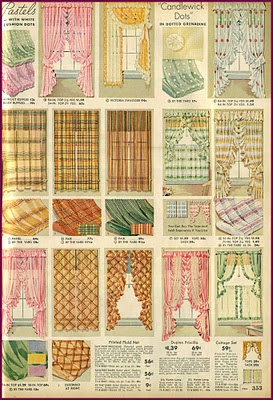 Dress your windows + other decor examples from mid 1930s Montgomery Ward catalog. Awesome.