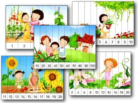 Puzzles numériques à imprimer: Il y a 40 puzzles différents numérotés. counting number puzzles to print. Puzzle dont les pièces sont numérotées