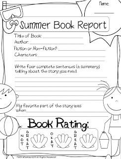 "5 types of ""Book Report"" docs for kid's reading folders (already have summer one downloaded/used)"
