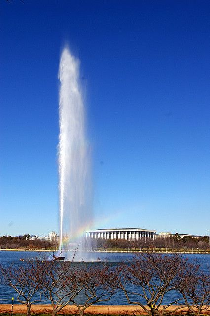 The Captain Cook Memorial Water Jet in Lake Burley Griffin (tNational Library of Australia in  background) - Canberra, ACT