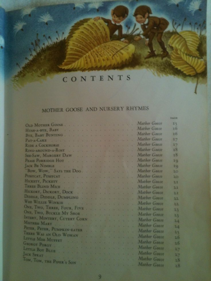 Table of Contents for Childcraft Encyclopedia Page nine Volume 1 1961 Edition  Mother Goose and Nursery Rhymes