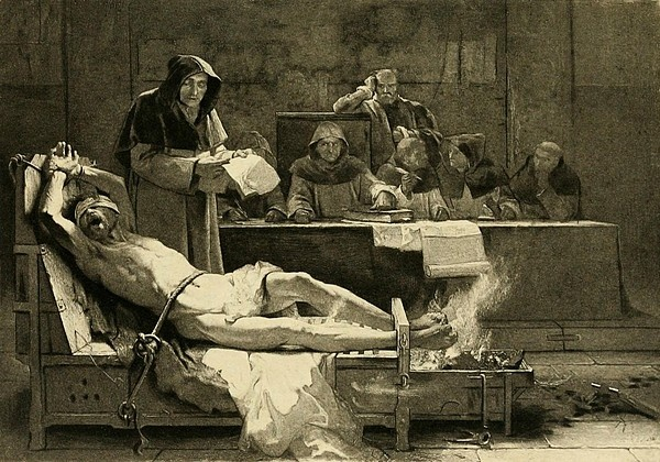 Victim of the Spanish Inquisition being tortured before a tribunal of the Spanish Inquisition. The Inquisition was established by the Spanish monarchy in 1478 to root out insincere converts from Judaism and Islam.