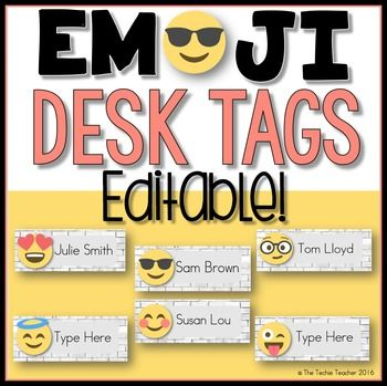 """This editable file is comes as a PowerPoint. Six different emoji templates are included. There is also an extra slide if you would rather have more uniform desk tags :)Simply highlight """"Type Here"""" and replace with a student's name. You can use your own font and colors."""