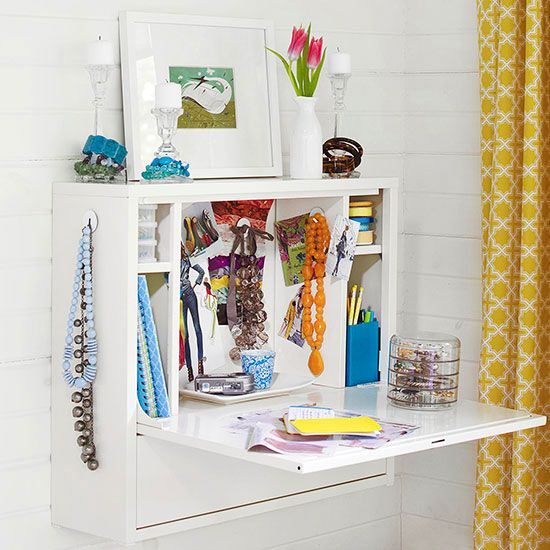 Bedroom Vanity Use A Wall Mount Desk To Stash Jewelry And Bedroom Extras.  The