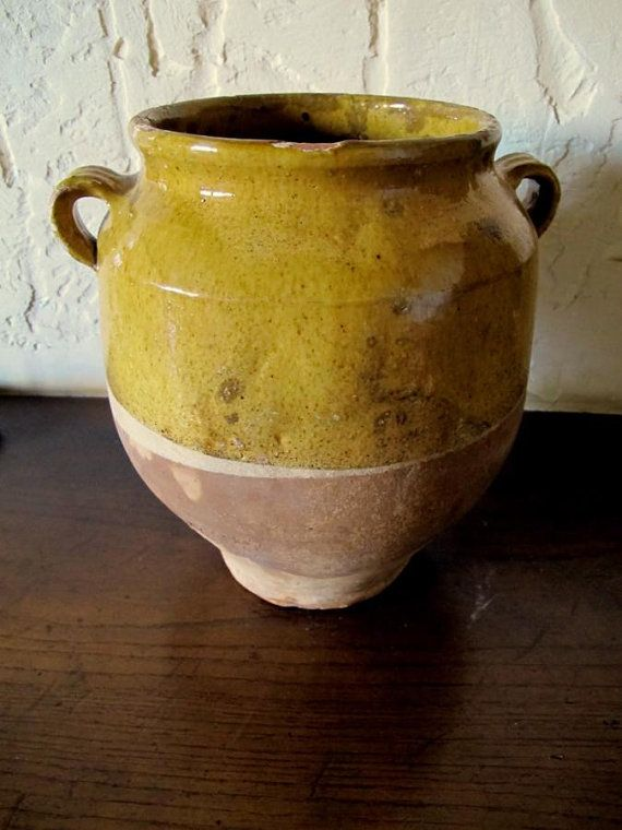 Antique Old French Pottery Ceramic Confit Pot 19th Century Vintage And French Pottery