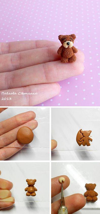 Tiny polymer clay bear | Лепим мини мишку из полимерной глины