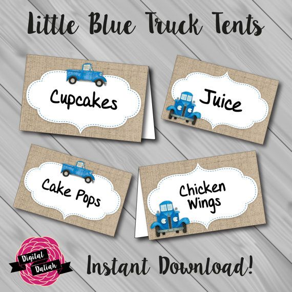 Little Blue Truck Name/Food Tents. Instant Download! Digital File/Printable.