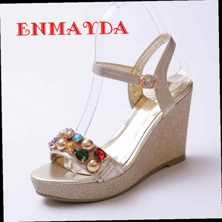 53.67$  Watch here - http://aliado.worldwells.pw/go.php?t=32663121779 - ENMAYDA New Women Gold Silver High Heels Buckle Strap Wedges String Beading Platform Sandals Shoes Woman Platform Date Casual 53.67$
