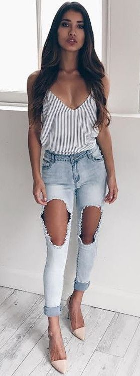 distressed jeans addict + stripes