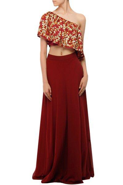 Esha Koul - Maroon gota patti appliqued off-shoulder blouse and lehenga ,  ,  ,  ,  ,  ,  ,  ,  ,  ,  ,  ,