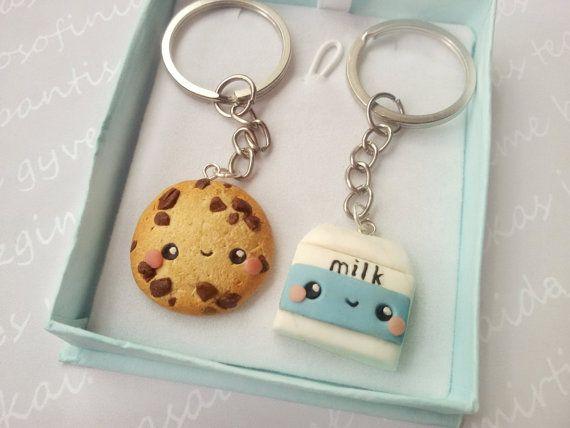 BFF Cookie and milk keychain, Friendship necklace, Friendship keychain, Food…