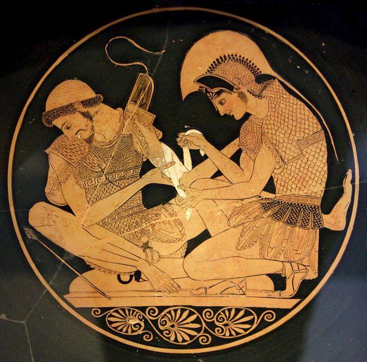 SOSIAS. Aquiles atendiendo a Patroclos herido por una flecha. 500 a. C.